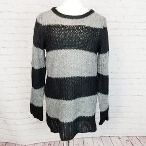 Zara Knit|Striped Long Wool Blend Sweater